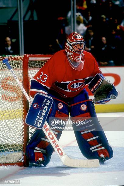 Patrick Roy of the Montreal Canadiens in position a hockey game against the Washington Capitals on February 4 1994 at the USAir Arena in Landover...