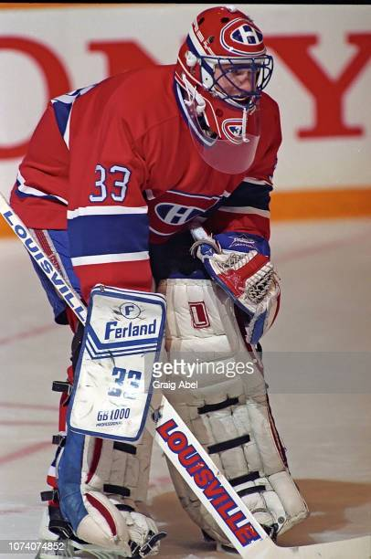 Patrick Roy of the Montreal Canadiens skates against the Toronto Maple Leafs during NHL game action on January 27 1990 at Maple Leaf Gardens in...