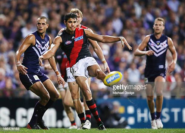 Patrick Ryder of the Bombers kicks the ball and the winning goal during the round three AFL match between the Fremantle Dockers and the Essendon...