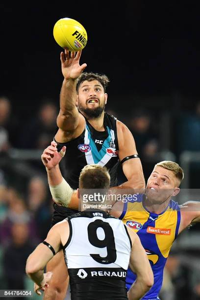 Patrick Ryder of the Power competes for the ruck during the AFL First Elimination Final match between Port Adelaide Power and West Coast Eagles at...