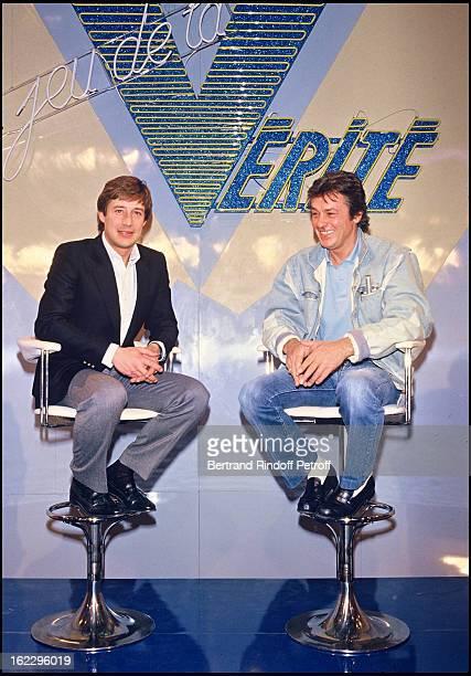 Patrick Sabatier and Alain Delon on 'Le Jeu De La Vérite' TV broadcast set