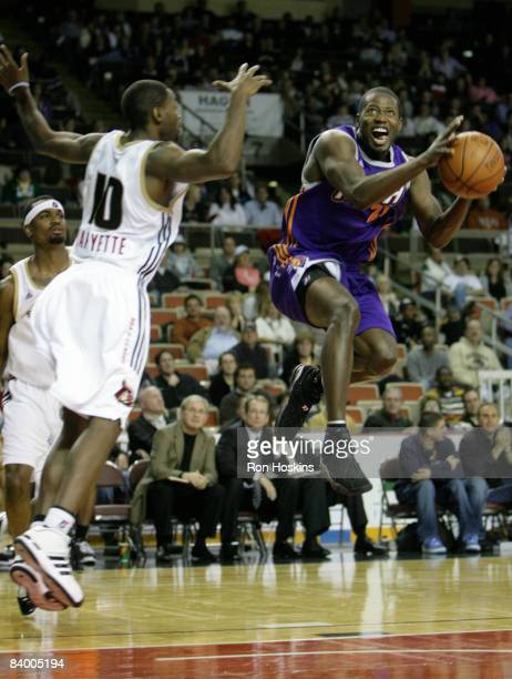 Patrick Sanders of the Iowa Energy looks to score over Oliver Lafayette of the Erie BayHawks at Tullio Arena on December 11 2008 in Erie Pennsylvania...