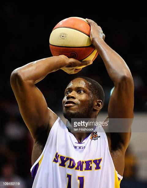 Patrick Sanders of the Kings attempts to make a shot during the round 20 NBL match between the Townsville Crocodiles and the Sydney Kings at...