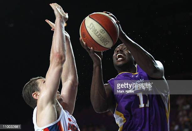 Patrick Sanders of the Kings drives to the basket during the round 22 NBL match between the Sydney Kings and the Adelaide 36ers at Sydney...