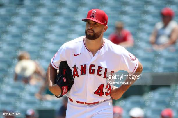 Patrick Sandoval of the Los Angeles Angels looks on during the first inning Mariners at Angel Stadium of Anaheim on July 18, 2021 in Anaheim,...