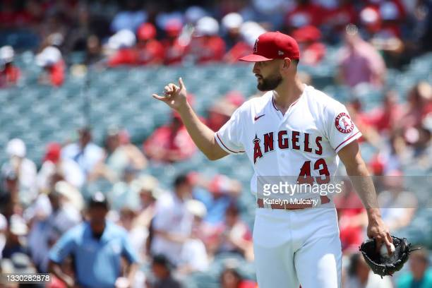 Patrick Sandoval of the Los Angeles Angels looks on from the mound during the first inning Mariners at Angel Stadium of Anaheim on July 18, 2021 in...