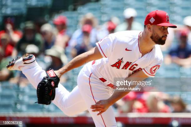 Patrick Sandoval of the Los Angeles Angels pitches during the first inning against the Seattle Mariners at Angel Stadium of Anaheim on July 18, 2021...