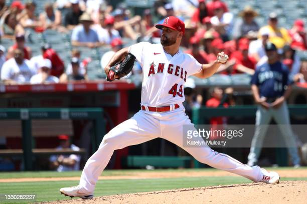 Patrick Sandoval of the Los Angeles Angels pitches during the third inning against the Seattle Mariners at Angel Stadium of Anaheim on July 18, 2021...