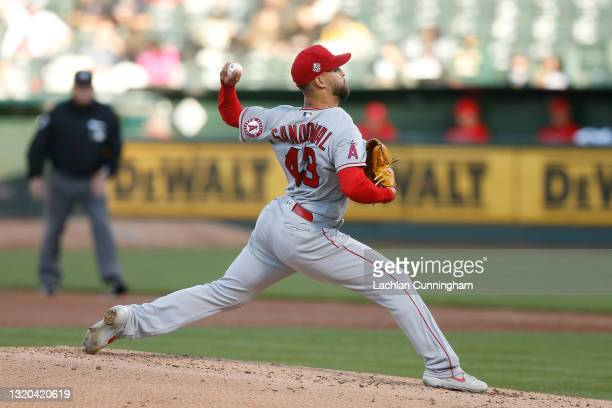 Patrick Sandoval of the Los Angeles Angels pitches in the bottom of the second inning against the Oakland Athletics at RingCentral Coliseum on May...