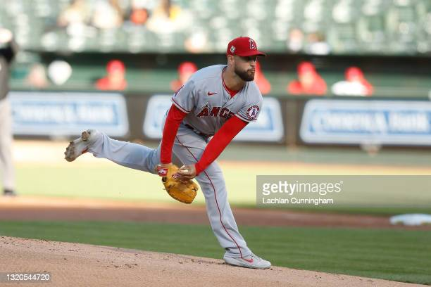 Patrick Sandoval of the Los Angeles Angels pitches in the bottom of the first inning against the Oakland Athletics at RingCentral Coliseum on May 27,...