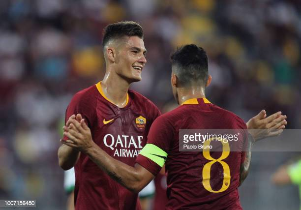 Patrick Schick and Diego Perotti of AS Roma celebrate during the PreSeason Friendly match between AS Roma and Avellino at Stadio Benito Stirpe on...