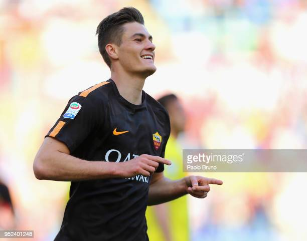 Patrick Schick of AS Roma celebrates after scoring the opening goal during the serie A match between AS Roma and AC Chievo Verona at Stadio Olimpico...