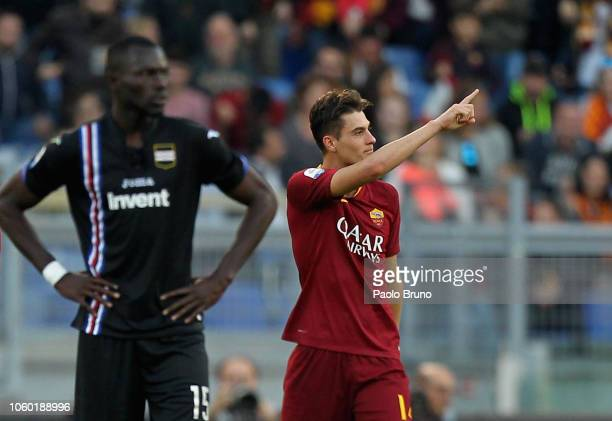 Patrick Schick of AS Roma celebrates after scoring the team's second goal during the Serie A match between AS Roma and UC Sampdoria at Stadio...