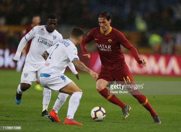Patrick Schick of AS Roma competes for the ball with Empoli players during the Serie A match between AS Roma and Empoli at Stadio Olimpico on March...
