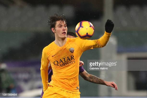 Patrick Schick of AS Roma in action during the Coppa Italia match between ACF Fiorentina and AS Roma at Stadio Artemio Franchi on January 30 2019 in...