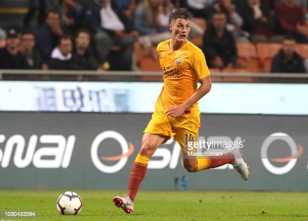 Patrick Schick of AS Roma in action during the serie A match between AC Milan and AS Roma at Stadio Giuseppe Meazza on August 31 2018 in Milan Italy