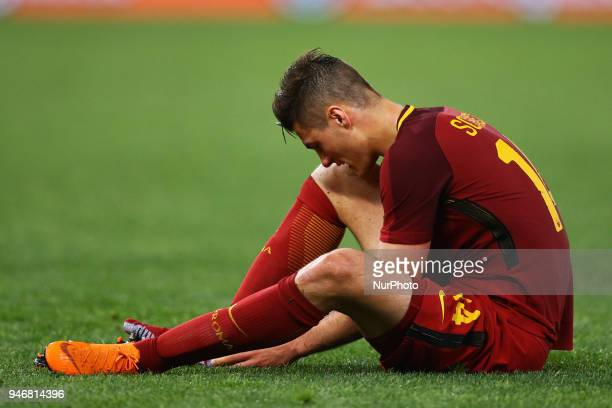 Patrick Schick of Roma during the serie A match between SS Lazio and AS Roma at Stadio Olimpico on April 15 2018 in Rome Italy