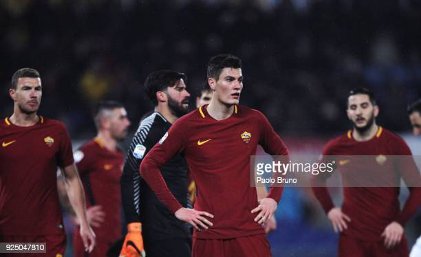 Patrick Schick with his teammates of AS Roma react during the serie A match between AS Roma and AC Milan at Stadio Olimpico on February 25 2018 in...