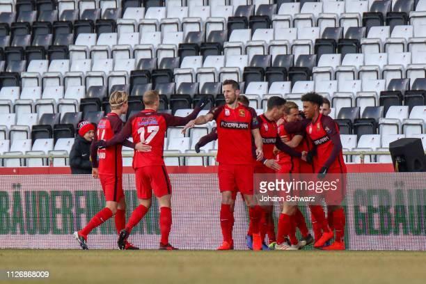 Patrick Schmidt of Admira celebrates with teammates scoring his goal during the tipico Bundesliga match between FC Admira Wacker and FC Wacker...