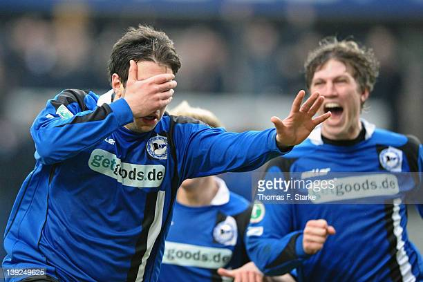 Patrick Schoenfeld and Fabian Klos of Bielefeld celebrate their teams first goal during the Third League match between Arminia Bielefeld and Jahn...