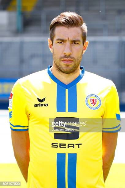 Patrick Schoenfeld of Eintracht Braunschweig poses during the official team presentation of Eintracht Braunschweig at Eintracht Stadion on July 3...