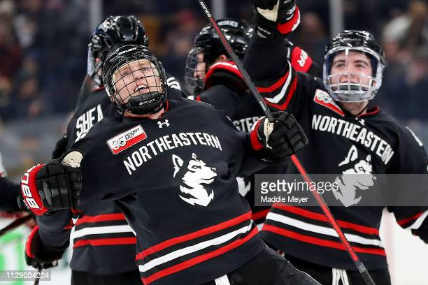 Patrick Schule of the Northeastern Huskies celebrates after scoring a goal against the Boston College Eagles during the 2019 Beanpot Tournament...
