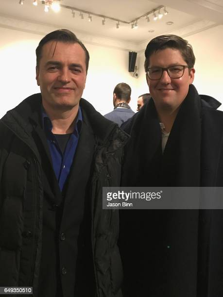 Patrick Schumacher Partner Zaha Hadid Architects and Spencer Baily Editor in Chief of Surface Magazine circa January 2017 in New York City