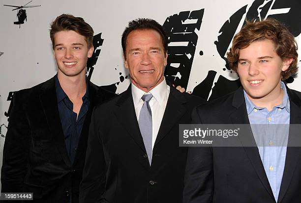 Patrick Schwarzenegger actor Arnold Schwarzenegger and Christopher Schwarzenegger arrive at the premiere of Lionsgate Films' The Last Stand at...