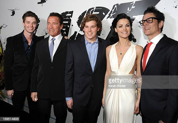 Patrick Schwarzenegger actor Arnold Schwarzenegger Christopher Schwarzenegger actors Jaimie Alexander and Johnny Knoxville arrive at the premiere of...