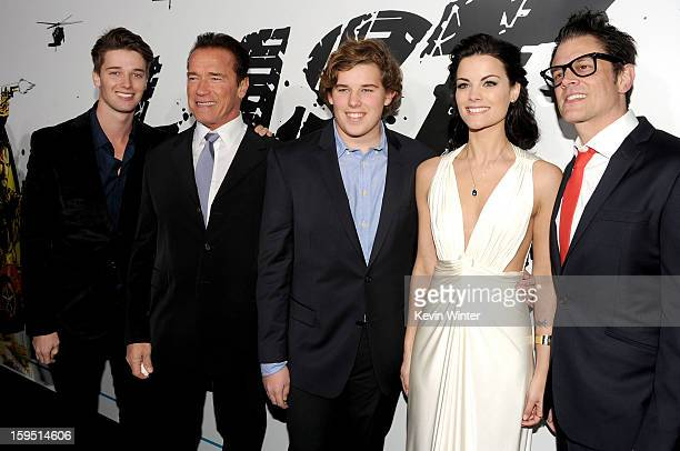 Patrick Schwarzenegger, actor Arnold Schwarzenegger, Christopher Schwarzenegger, actors Jaimie Alexander, and Johnny Knoxville arrive at the premiere...