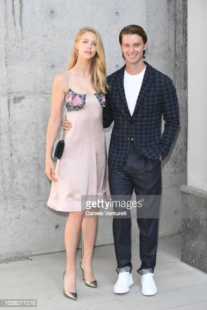 Patrick Schwarzenegger and Abby Champion arrive the Giorgio Armani show during Milan Fashion Week Spring/Summer 2019 on September 23 2018 in Milan...
