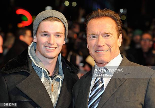 Patrick Schwarzenegger and Arnold Schwarzenegger attend the European Premiere of The Last Stand at Odeon West End on January 22, 2013 in London,...