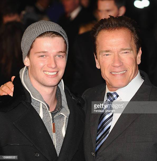 Patrick Schwarzenegger and Arnold Schwarzenegger attend the European Premiere of The Last Stand at Odeon West End on January 22 2013 in London England