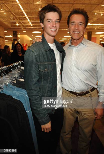 Patrick Schwarzenegger and Arnold Schwarzenegger attend the Think Purple Now Fundraiser with Project 360 and Threads for Thought to benefit the...