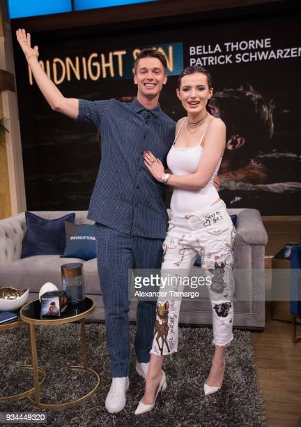 Patrick Schwarzenegger and Bella Thorne are seen on the set of 'Despierta America' at Univision Studios to promote the film 'Midnight Sun' on March...