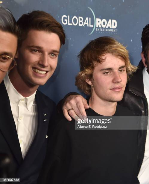 Patrick Schwarzenegger and Justin Bieber attend Global Road Entertainment's world premiere of 'Midnight Sun' at ArcLight Hollywood on March 15 2018...