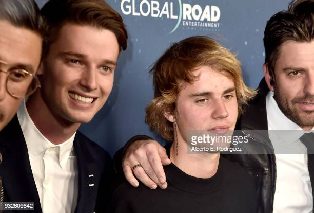 Patrick Schwarzenegger and Justin Bieber attend Global Road Entertainment's world premiere of Midnight Sun at ArcLight Hollywood on March 15 2018 in...