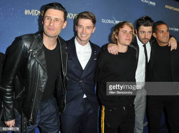 Patrick Schwarzenegger and Justin Bieber attend the Global Road Entertainment's World Premiere of 'Midnight Sun' at ArcLight Hollywood on March 15...