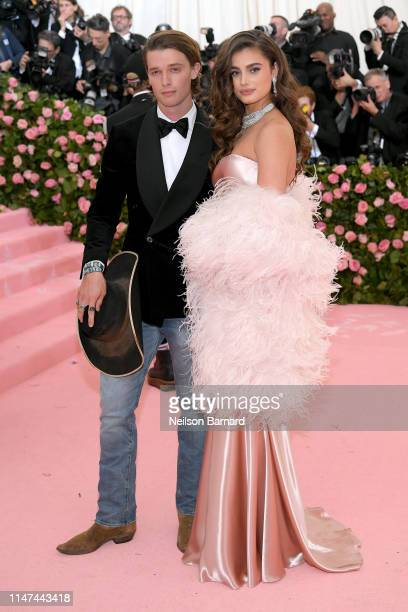 Patrick Schwarzenegger and Taylor Hill attend The 2019 Met Gala Celebrating Camp: Notes on Fashion at Metropolitan Museum of Art on May 06, 2019 in...