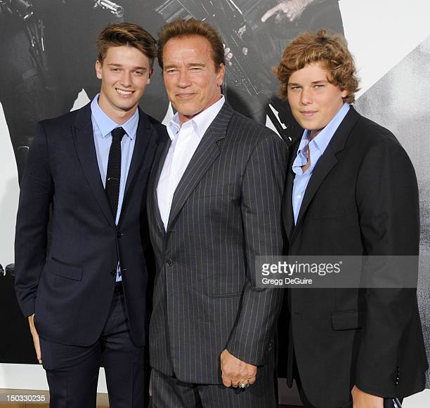 "Patrick Schwarzenegger, Arnold Schwarzenegger and Christopher Schwarzenegger arrive at Los Angeles premiere of ""The Expendables 2"" at Grauman's..."