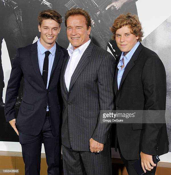Patrick Schwarzenegger Arnold Schwarzenegger and Christopher Schwarzenegger arrive at Los Angeles premiere of The Expendables 2 at Grauman's Chinese...