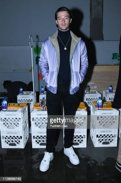 Patrick Schwarzenegger attends John Elliott in Front Row at February 2019 New York Fashion Week The Shows on February 09 2019 in New York City