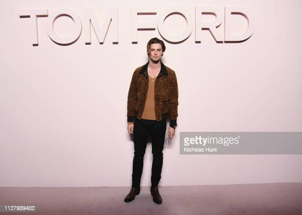 Patrick Schwarzenegger attends the Tom Ford FW 2019 Arrivals New York Fashion Week The Shows on February 06 2019 in New York City