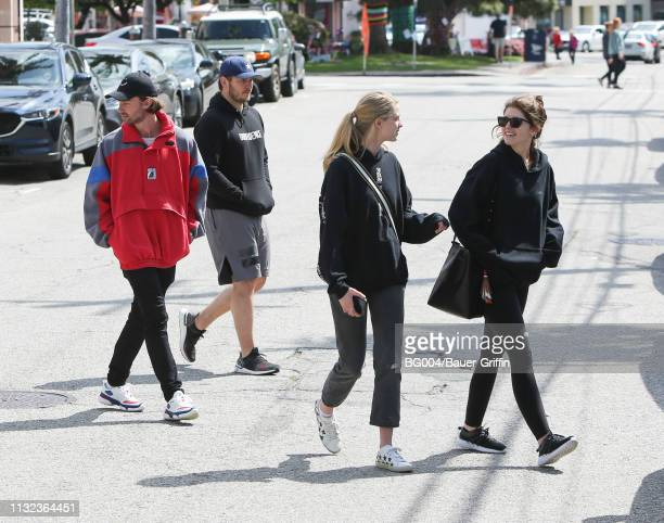 Patrick Schwarzenegger Chris Pratt Abby Champion and Katherine Schwarzenegger are seen on March 23 2019 in Los Angeles California