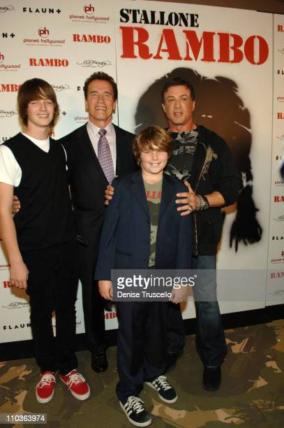 Patrick Schwarzenegger Christopher Schwarzenegger California governor Arnold Schwarzenegger and actor Sylvester Stallone arrive at the World Premiere...