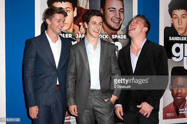 Patrick Schwarzenegger David Henrie and Jimmy Tatro attend the Grown Ups 2 New York Premiere at AMC Lincoln Square Theater on July 10 2013 in New...