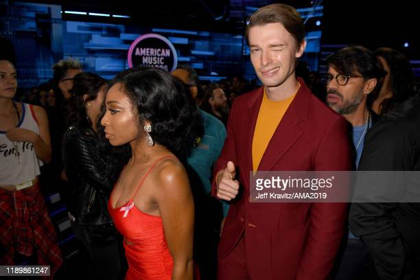 Patrick Schwarzenegger performs onstage during the 2019 American Music Awards at Microsoft Theater on November 24 2019 in Los Angeles California