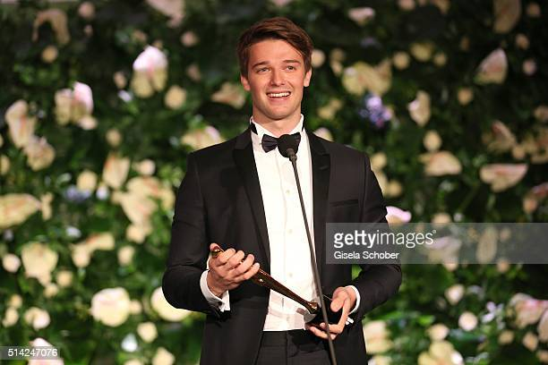 Patrick Schwarzenegger with award during the PEOPLE Style Awards at Hotel Vier Jahreszeiten on March 7 2016 in Munich Germany