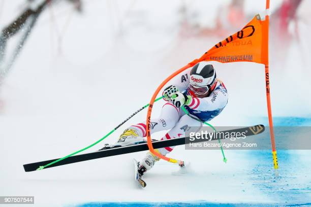 Patrick Schweiger of Austria crashes out during the Audi FIS Alpine Ski World Cup Men's Downhill on January 20 2018 in Kitzbuehel Austria