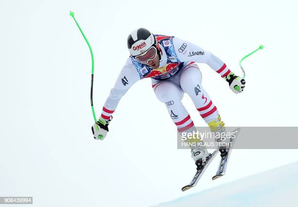 Patrick Schweiger of Austria performs during a training session of the FIS Alpine World Cup Men's downhill event in Kitzbuehel Austria on January 18...